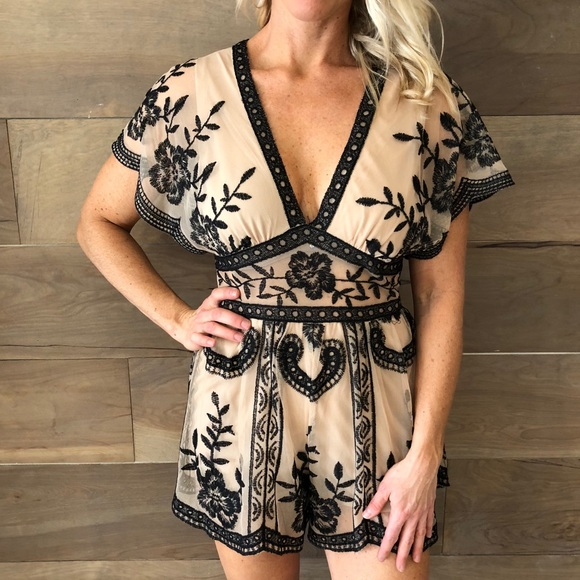 709394be7c4b Honey Punch Other - HoneyPunch Nude   Black Lace Romper